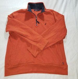 Nautica Orange Half Zip Logo Sweater Size L